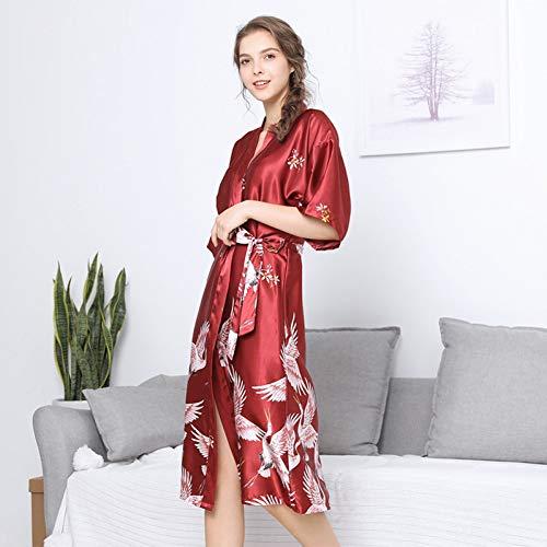 XMDNYE Plus Größe XXXL Chinesische Frauen Lange Robe Druck Grus Japonensis Kimono Bademantel Kleid Braut Brautjungfer Hochzeit Roben Sexy Nachtwäsche (Plus Bademantel Größe Sexy)