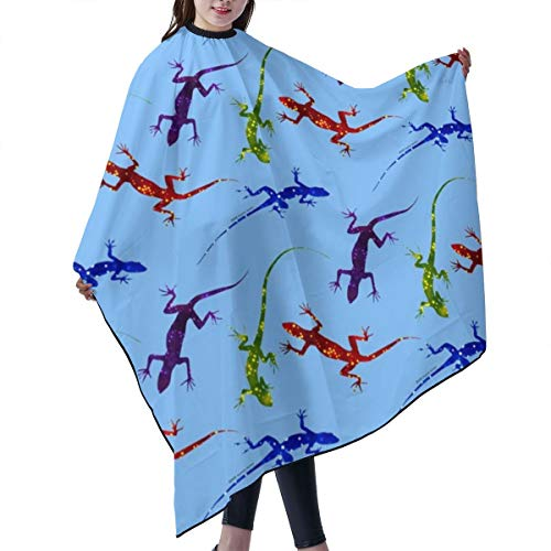 Barber Cape,Colorful Spotted Lizards On Light Blue Salon Polyester Cape Haircut Apron 55