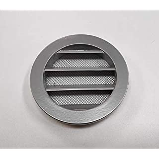 Klimapartner WSGG 80 - Silver Grey Round Fixed Louvre Air Vent Grille Insect Screen