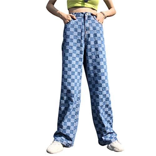 yssgtt Harajuku Plaid Muster lose Lange hohe Taille Vintage Straight Blue Jeans für Frauen -