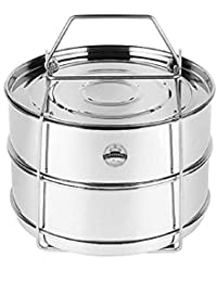 GESTIONE Stainles Steel Cooker Separator Set Suitable For 3 Litres Hawkins Inner-Lid Pressure Cooker 2 Containers,