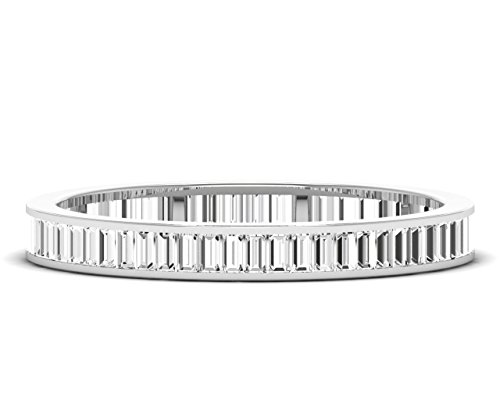 1.00ct Channel Set Baguette Cut Diamonds Full Eternity Ring Availble in Gold and Platinum (Platinum, N)