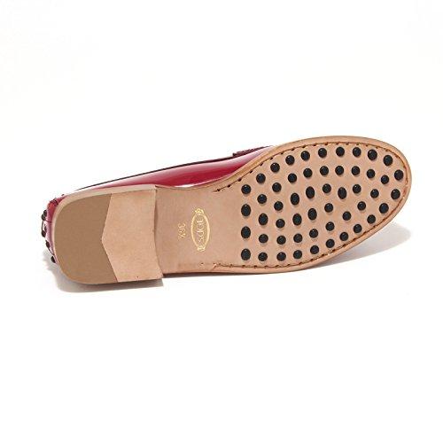 7868L mocassini donna TOD'S cuoio mascherina spilla scarpe loafers shoes women magenta scuro