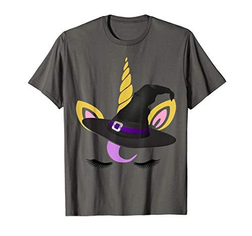 Einhorn Hexe Mädchen Halloween Einhorn Kostüm T-Shirt (Schule Mädchen Kostüm Hexe)