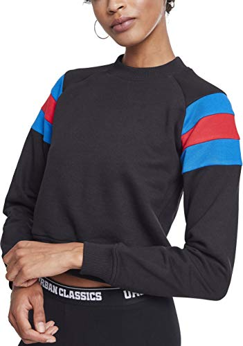 Urban Classics Damen Ladies Sleeve Stripe Crew Sweatshirt, Mehrfarbig (Black/Brightblue/Firered 01558), Large - Classic Crew-pullover