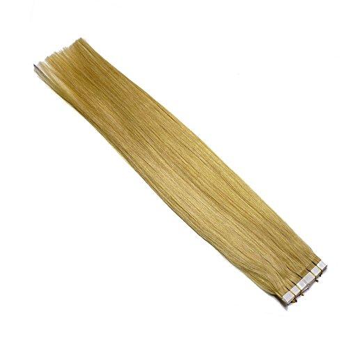 40 Extensions à bandes adhésives - Vrais Cheveux- 30 cm 60 g pour collage, Couleur:Blond doré