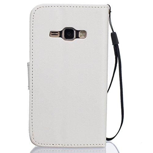 Idatog™ - Custodia a libro per iPhone 5/5S/SE, con protezione per lo schermo in vetro temperato, chiusura magnetica, alta qualità, stile classico ed elegante, con motivo dente di leone, in similpelle, White