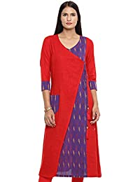 39dc33ad24a6 Utsav Fashion Ikat Woven Cotton Slub Angrakha Style Kurta in Red and Purple