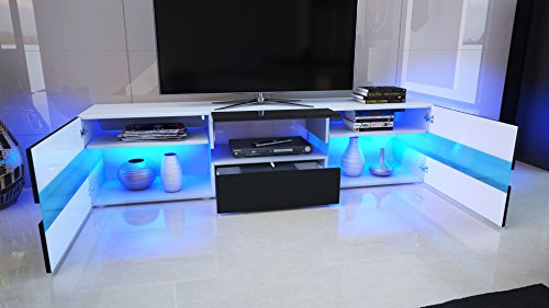 tv unit cabinet flow carcass in white matt front in white high gloss with led lights buy. Black Bedroom Furniture Sets. Home Design Ideas