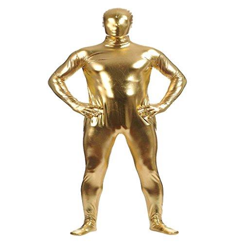 Homyl Metallisch Glänzenden Ganzkörperanzug Second Skin Kostüm Anzug Suit Kostüm Ganzkörper Anzugfür Fasching Karneval Halloween Kostüme - gold, l