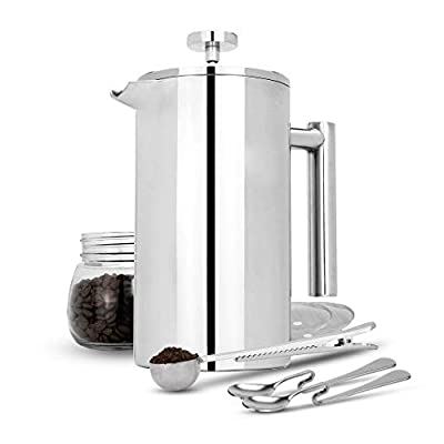 French Press Cafetiere | Stainless Steel Coffee Press Maker | FREE Extra Filters / Measuring spoons / Bag Clip | Double Walled Insulation | 7pc Coffee Gift Set | M&W (1000ml) from Xbite