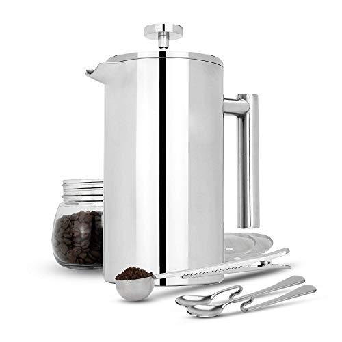 Maison & White Französisch Presse Cafetiere | Edelstahl Kaffeepresse Maker | KOSTENLOSE Extra Filter / Messlöffel / Beutelklammer | Doppelwandige Isolierung | 7er Kaffee Geschenkset | 1000ml