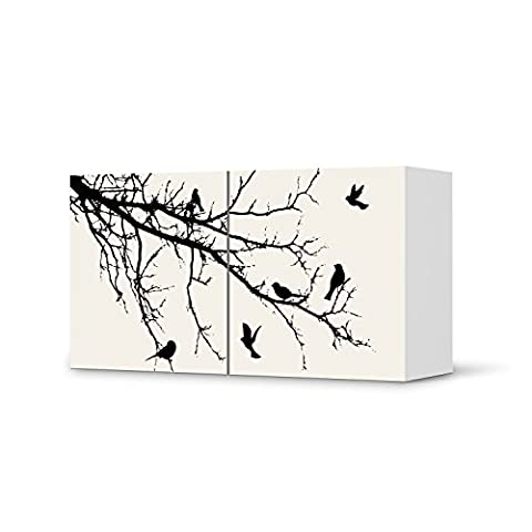 Möbeltattoo für IKEA Besta Regal Quer 2 Türen | Klebefolie Dekoration Möbel-Aufkleber Folie | Inneneinrichtung dekorieren Deko Wohnung | Design Motiv Tree and Birds (Do It Yourself-kuchen-dekoration)