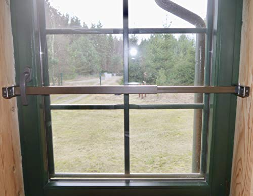ERABOS® - Einbruchschutz   Sicherungsstange für Fenster/Türen   MIT KIPPSTELLUNGS-SCHUTZ   57-100cm   MASSIVER STAHL   braun   auch in WEISS erhältlich - Weiß Stahl-tür