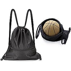youngpal grande Sackpack resistente al agua Gimnasio Bolsas de cordón con bolsillos, negro