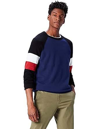 FIND Pullover Scollo Rotondo con Colori a Contrasto Uomo, Blu (Black/navy/red/ivory), Small
