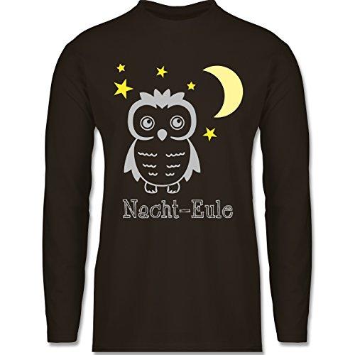 Eulen, Füchse & Co. - Nacht-Eule - Longsleeve / langärmeliges T-Shirt für Herren Braun