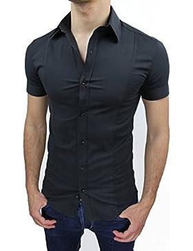 Camicia uomo Slim fit nero aderente elasticizzata manica corta casual