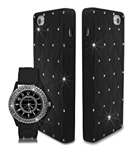 Bling Diamante Crystal Silicone Unisex Watch with Case for Apple iPhone 5 5S / iPhone SE - Black