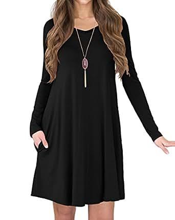 b38abebe92 ... TINYHI Women s Casual Swing Flowy Plain Simple Cotton T-Shirt Loose  Dress