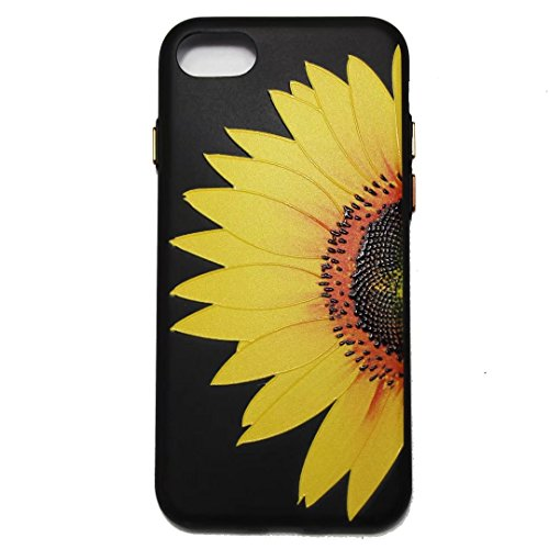 iPhone 7 Case,August 3D Emboss Pattern Flower TPU Soft Case Rubber Silicone Skin Cover for iPhone 7 A4