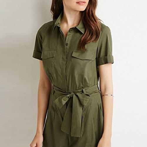 Retro Armee Femmes Vertes Cintrees Jumpsuit Ol Barboteuses Shirt Salopettes Courtes + Ceinture armee verte