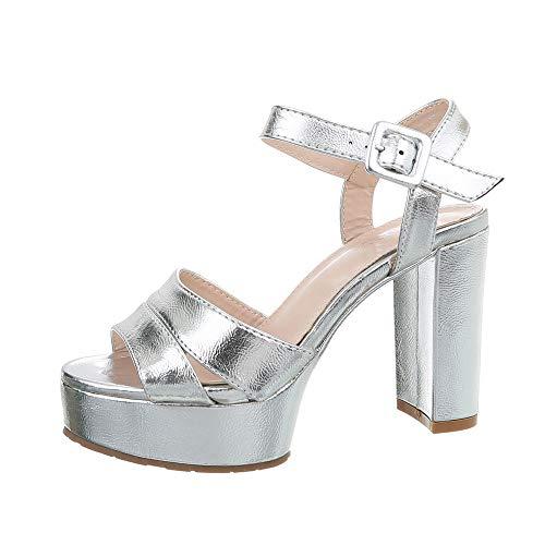 f5431ef510bc91 Ital-Design Damenschuhe Sandalen   Sandaletten High Heel Sandaletten  Synthetik Silber Gr. 41