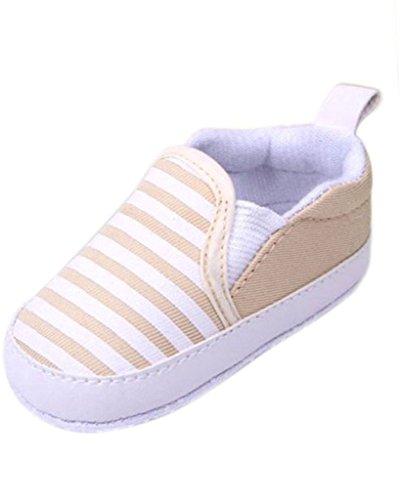 Minetom Ragazzi e Ragazza Neonati Bambini a Strisce Sneakers Scarpine Morbido Sole Anti Scivolo Scarpe Outdoor Cachi 13 cm - Outdoor Decor