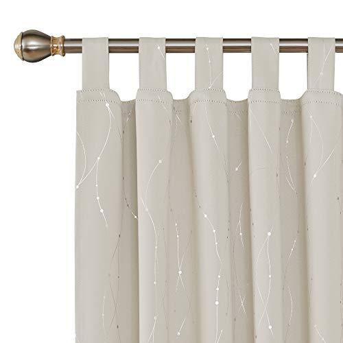 Deconovo tende oscuranti termiche isolanti stampate fili con passanti tende a pannello per interni 140x175 cm 2 pannelli beige chiaro