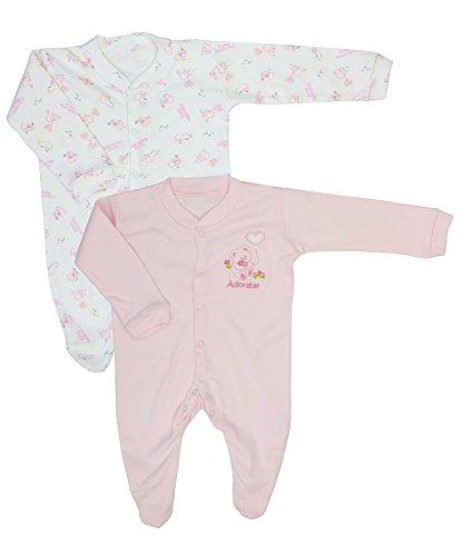 Nursery Zeit Twin Pack Entzückende Sleepsuits - NB / 56 cm / 4.5 kg -