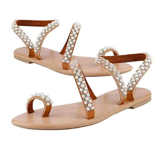 Wawer_Damen Sandalen  Neue Art und Weise Frauen-Sommer-Sandelholz-Kristallperlen Flach-Soled beiläufige reizvolle Schuhe, Plateauschuhe Lazy Shoes Freizeitschuhe Einzelschuhe -
