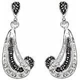 Black Marcasite and Cubic Zirconia Crystal in Sterling Silver Curls Drop Earrings