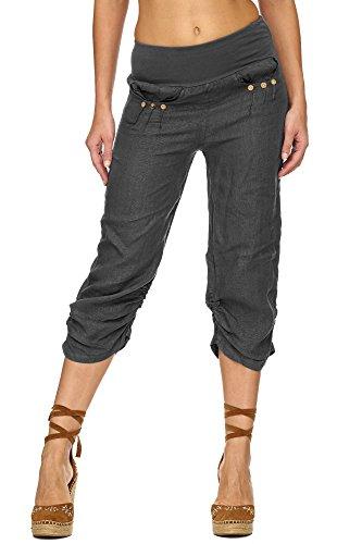 Zarlena Damen Capri-Hose knielange kurze Leinenhose Leinen Stoffhose Freizeithose Grau L LT2-GRY-L