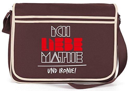 Ich liebe Mathe, Retro Messenger Bag Kuriertasche Umhängetasche Braun