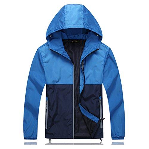 Zhhlaixing Outerdoor mode Super Plus Size Mens Waterproof Hooded Outerwear Walking Windproof Jacket blue