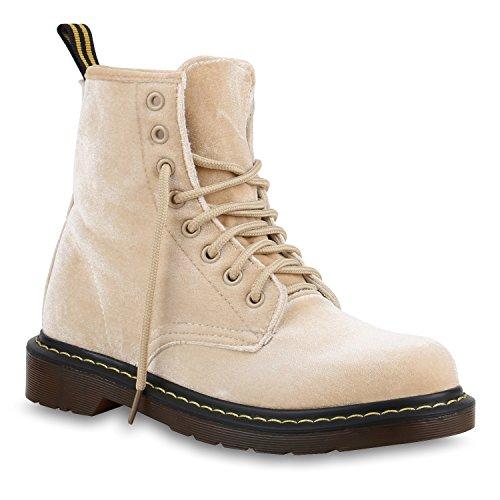 Damen Stiefeletten Samtoptik Worker Boots Schnürstiefel Creme