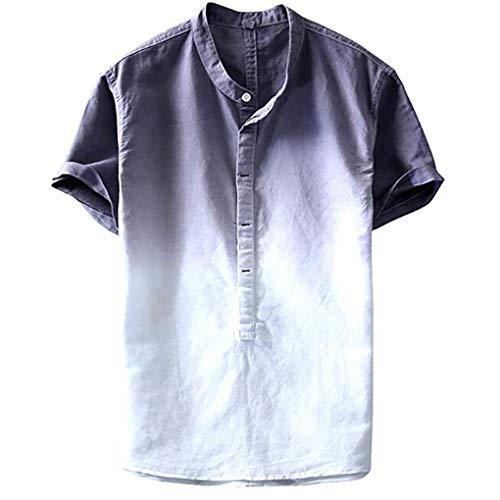 Leinen T- Shirt für Herren/Skxinn Männer Freizeithemd Sommer Kurzarm Gefärbt Farbverlauf Hemd Casual Regular Fit Cool & Dünn Atmungsaktiv Oberteile M-3XL Ausverkauf(Grau,X-Large)