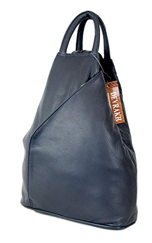 b0ba7f3c89e5e DEVRAKH Rucksack-handtasche Damen Umhängetasche Schultertasche Cityrucksack  Echtleder Nappa-Leder zweifarbig (Blau)