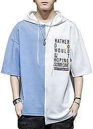 Men's T-Shirt Casual Short Sleeve Hip Hop Pullover Hoodies Summer Hoodies Sweatshirt Pocket Summer Clo