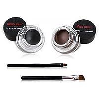 Demarkt 2pcs impermeable del gel del Eyeliner Delineador de ojos pincel negro Brown Cosmetics