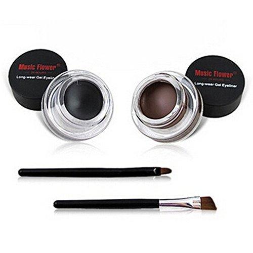 Scrox 2 Pcs Professionnel Bicolore Maquillage Eyeliner Gel Étanche à l'eau Eyeliner pinceaux de Maquillage Outils auxiliaires Noir + Marron