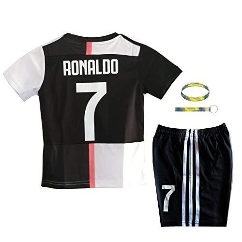 Daoseng 2019-2020 Tuta da Allenamento per Ragazzo Uniforme da Calcio T-Shirt a Maniche Corte + Pantaloncini (2019-2020 No.7, T26/Altezza Bambini 145-150CM)