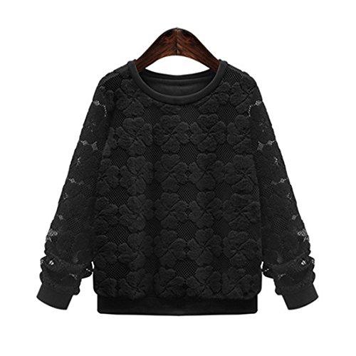 Braune Cut-out (Haroty Damen Oversize Spitze Pullover T-shirt Tops Langarm Lose Dicker Bestickt Jumper Oberteile Sweatshirts (4XL, Schwarz))