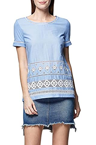 next Femme T-Shirt Avec Finitions Brodées Petite Taille Petite Taille Bleu EU 46 (UK 18)