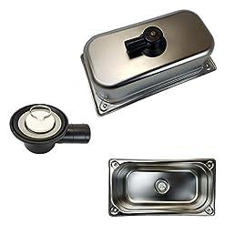 Lavandino in acciaio inox con scarico 32,5cm x 16,5cm x 10cm
