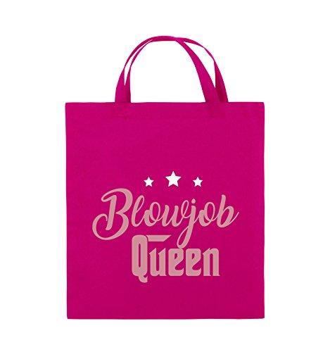 Comedy Bags - Blowjob Queen - Jutebeutel - kurze Henkel - 38x42cm - Farbe: Schwarz / Weiss-Neongrün Pink / Rosa-Weiss