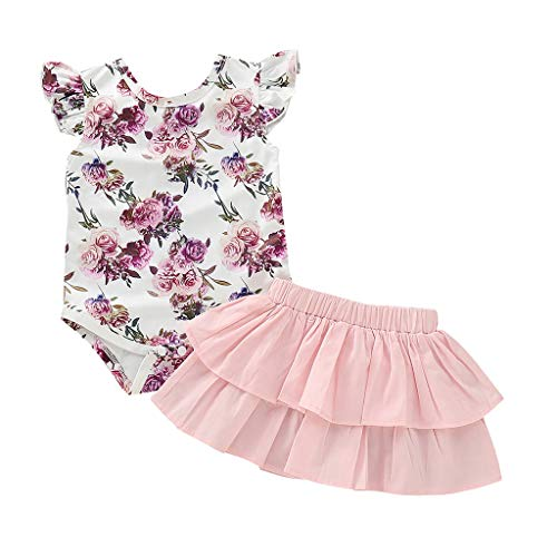 Mädchen, Neugeborene Kleinkind SäUgling Floral Print Romper RüSchen Rock Outfits Set ()