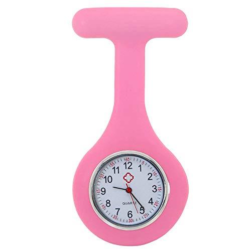 tumundo Schwestern-Uhr Puls Anstecknadel Kittel Brosche Silikon-Hülle Quarz Damen-Schmuck Krankenschwester Pfleger-Uhr, Farbe:rosa