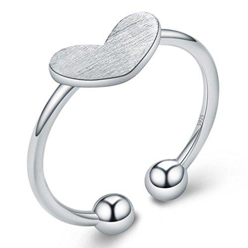 Unendlich U Klassik Liebe Herz 925 Sterling Silber Verstellbare Band Kleiner finger Ringe für Mädchen Damen, Ringgröße 48 mit Gabe Beutel (Süße Finger-ringe Für Frauen)