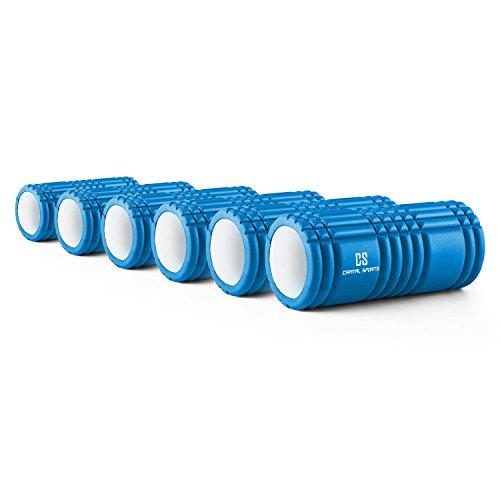 CAPITAL SPORTS Caprole 1 Massageroller Foamroller Schaumstoffrolle Faszienrolle gerillt 33 x 14 cm Set 6 Stück (Selbstmassage, genoppte Oberfläche, reduziert Muskelkater) Blau